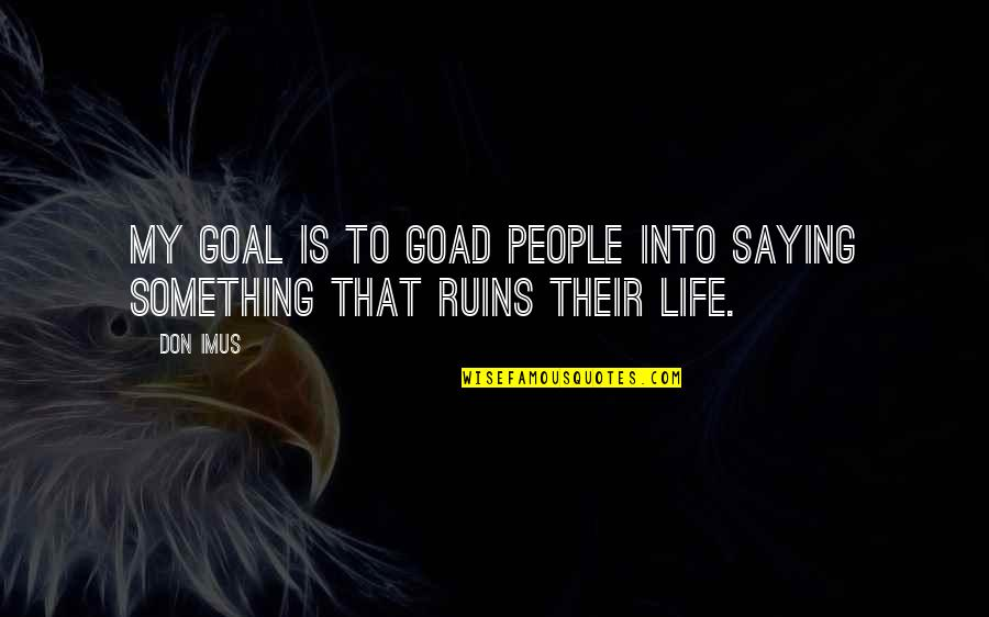 Health Care Quality Improvement Quotes By Don Imus: My goal is to goad people into saying