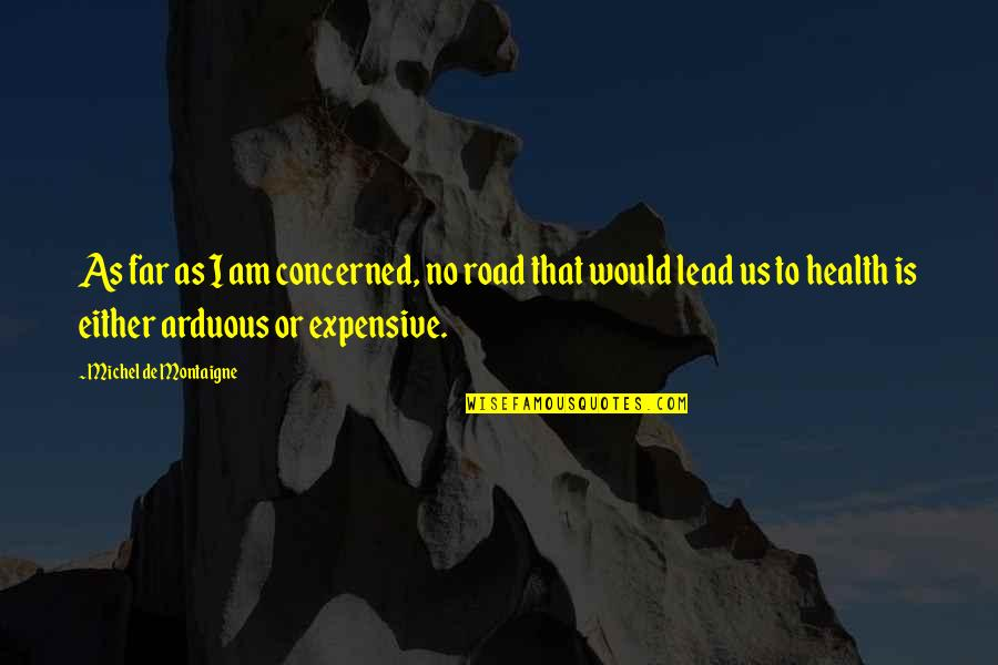 Health Expensive Quotes By Michel De Montaigne: As far as I am concerned, no road