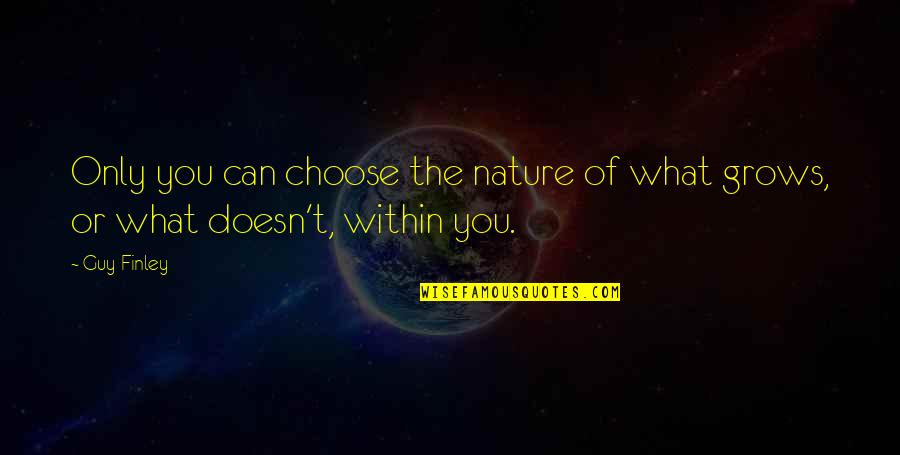 Healthy Wealthy And Wise Quotes By Guy Finley: Only you can choose the nature of what