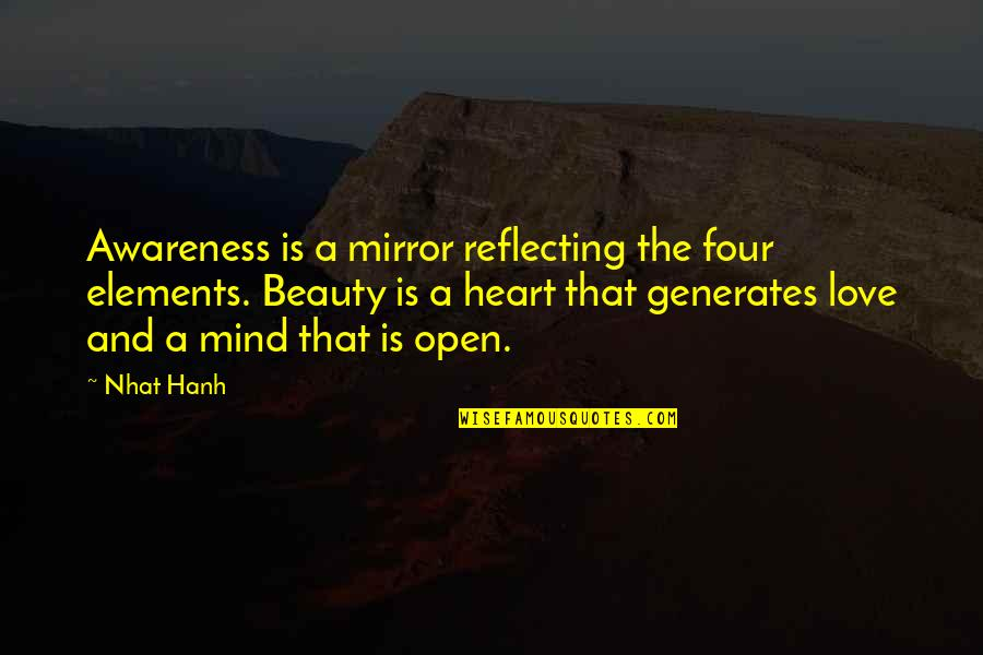 Heart And Beauty Quotes By Nhat Hanh: Awareness is a mirror reflecting the four elements.