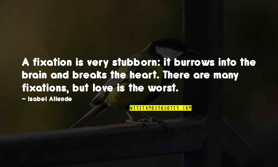 Heart Breaks Love Quotes By Isabel Allende: A fixation is very stubborn: it burrows into