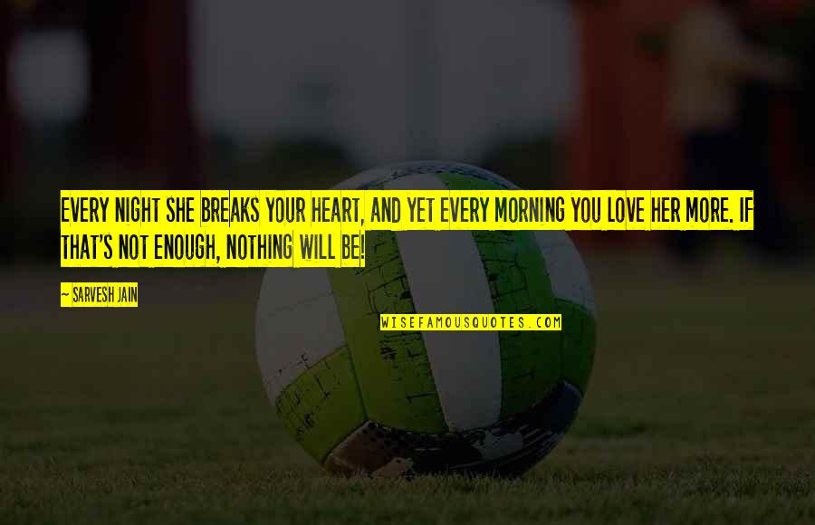 Heart Breaks Love Quotes By Sarvesh Jain: Every night she breaks your heart, and yet