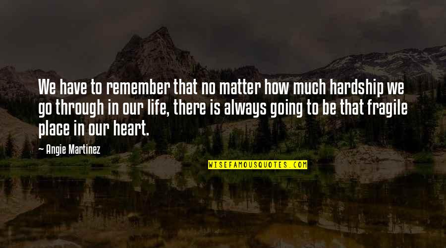 Heart Is Fragile Quotes By Angie Martinez: We have to remember that no matter how