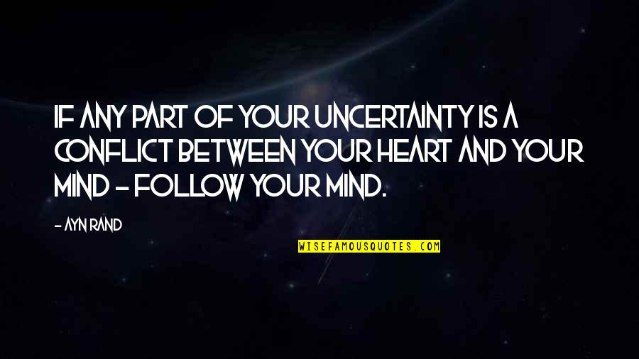 Heart Mind Conflict Quotes By Ayn Rand: If any part of your uncertainty is a