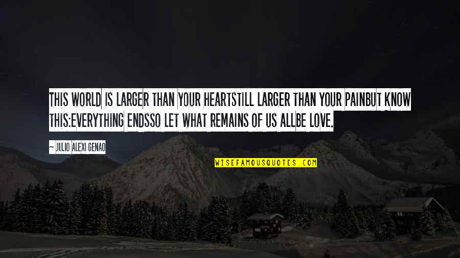 Heart Pain In Love Quotes By Julio Alexi Genao: This world is larger than your heartstill larger