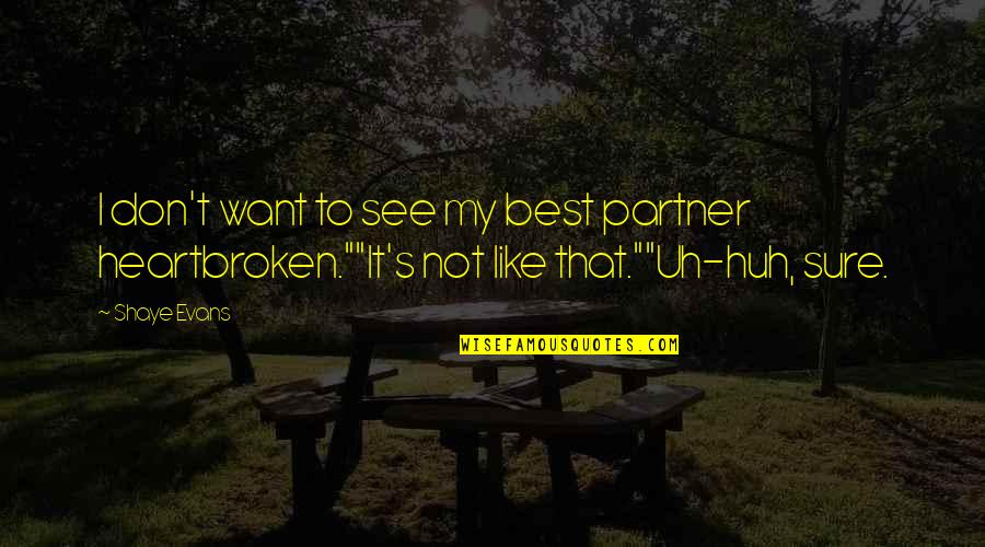 Heartbroken Quotes By Shaye Evans: I don't want to see my best partner