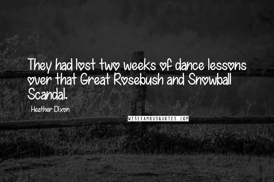 Heather Dixon quotes: They had lost two weeks of dance lessons over that Great Rosebush and Snowball Scandal.