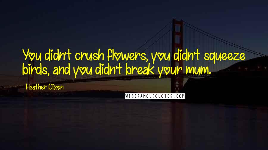 Heather Dixon quotes: You didn't crush flowers, you didn't squeeze birds, and you didn't break your mum.