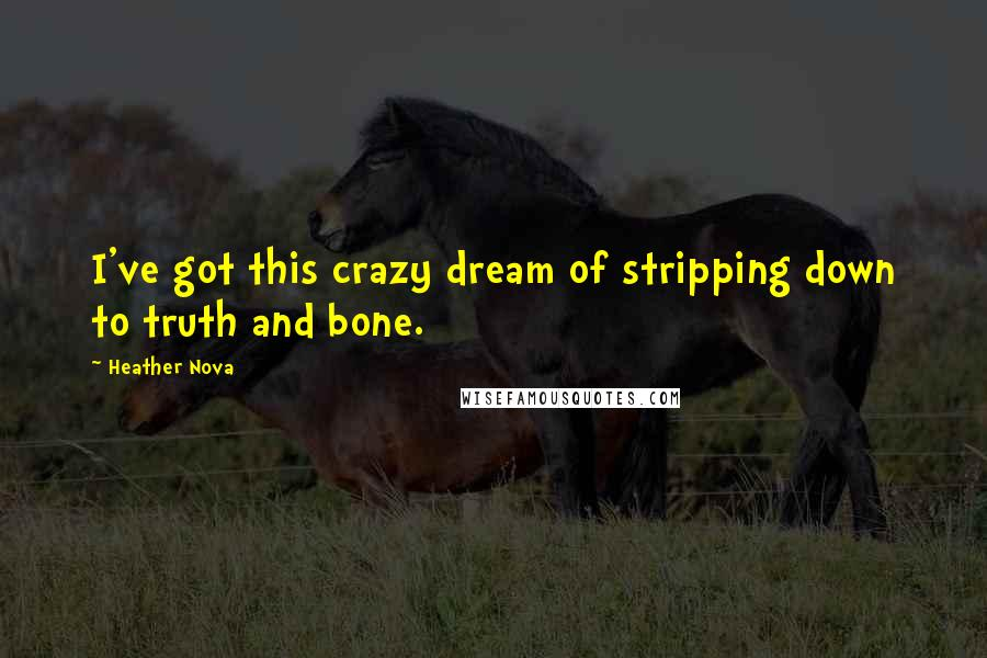 Heather Nova quotes: I've got this crazy dream of stripping down to truth and bone.