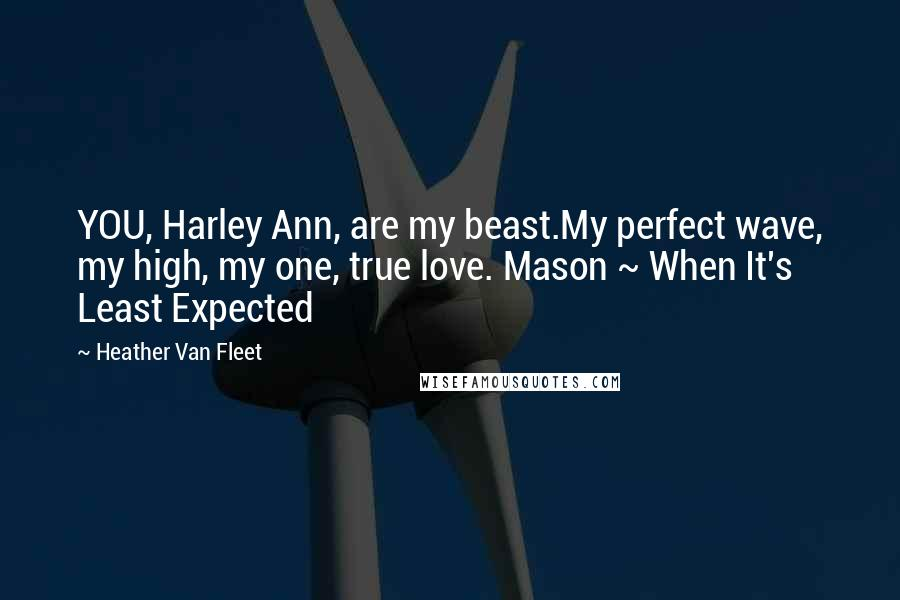Heather Van Fleet quotes: YOU, Harley Ann, are my beast.My perfect wave, my high, my one, true love. Mason ~ When It's Least Expected