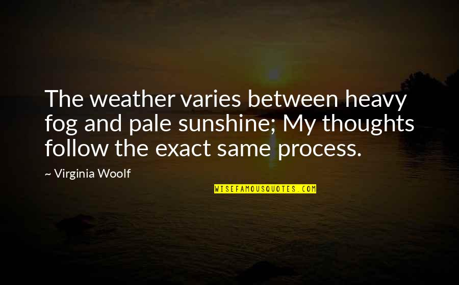 Heavy Life Quotes By Virginia Woolf: The weather varies between heavy fog and pale
