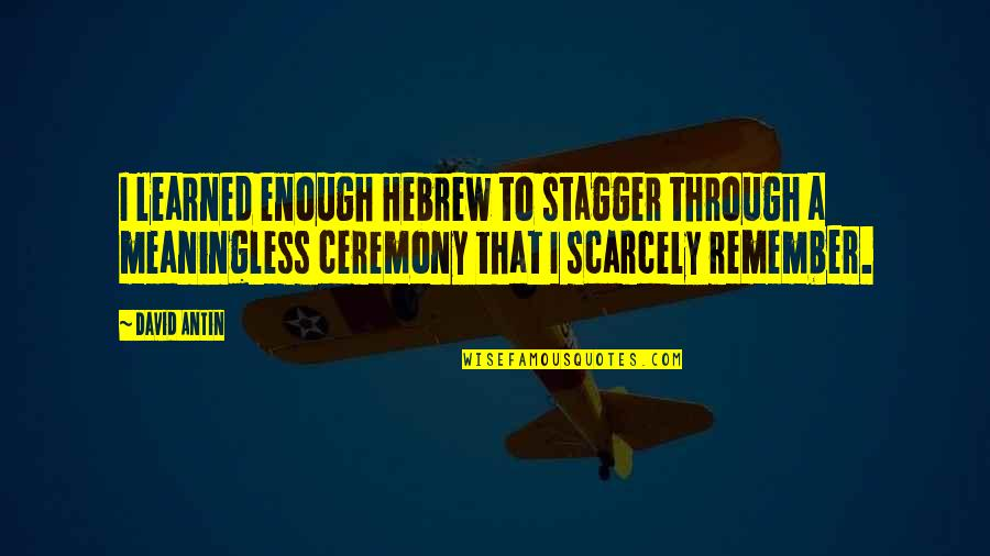 Hebrew Quotes By David Antin: I learned enough Hebrew to stagger through a