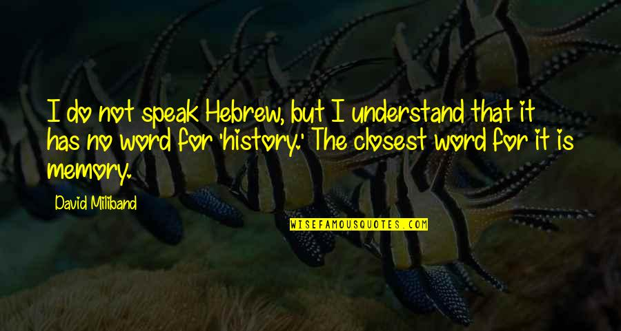 Hebrew Quotes By David Miliband: I do not speak Hebrew, but I understand