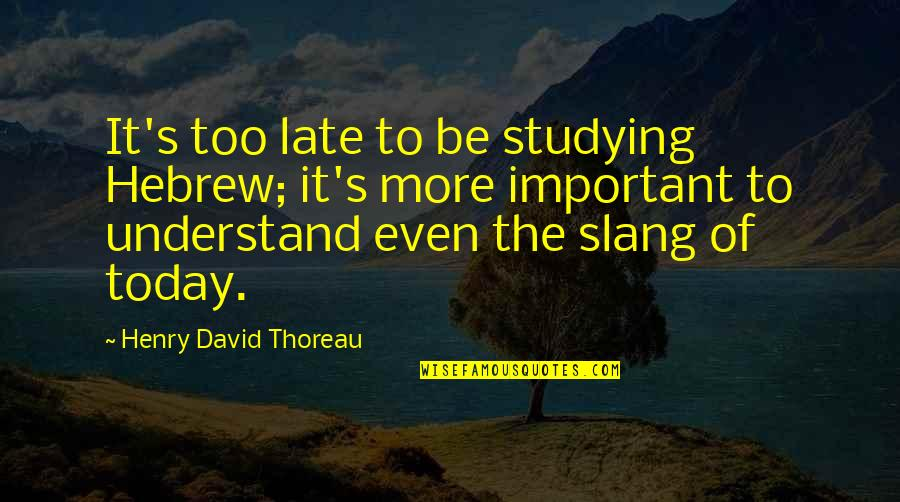Hebrew Quotes By Henry David Thoreau: It's too late to be studying Hebrew; it's