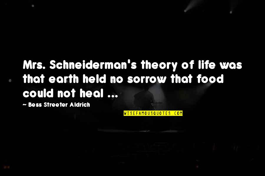 Held's Quotes By Bess Streeter Aldrich: Mrs. Schneiderman's theory of life was that earth