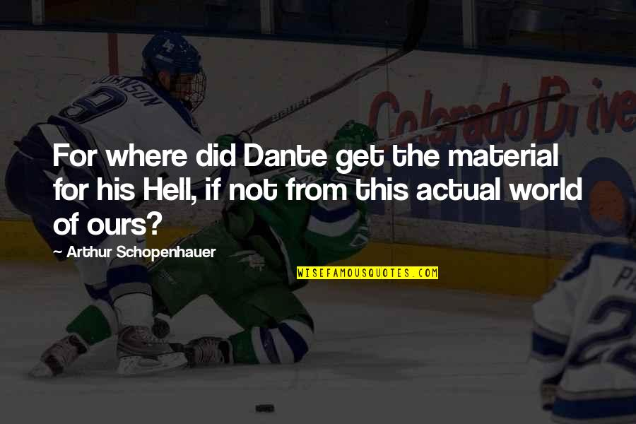 Hell Dante Quotes By Arthur Schopenhauer: For where did Dante get the material for