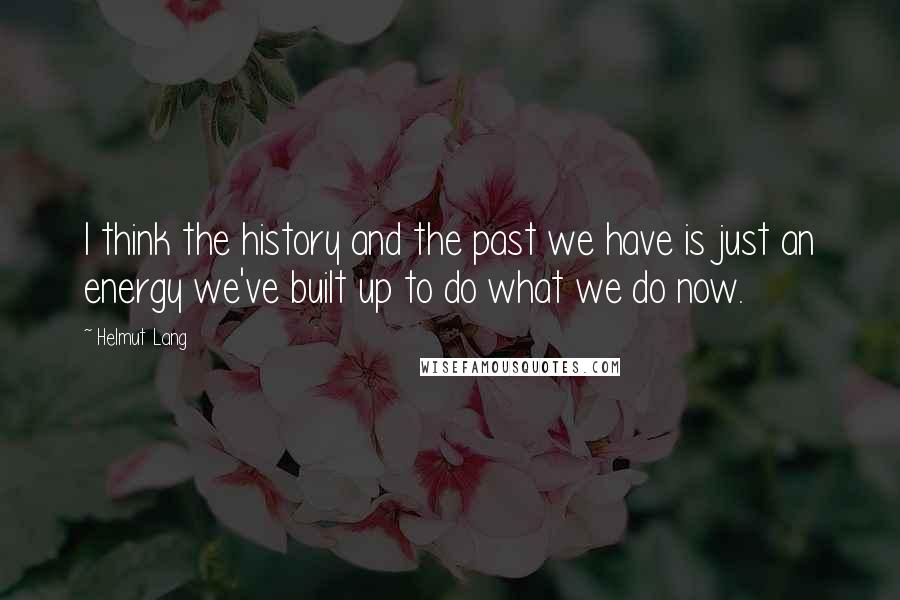 Helmut Lang quotes: I think the history and the past we have is just an energy we've built up to do what we do now.