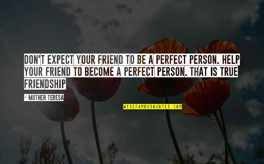 Help And Friendship Quotes By Mother Teresa: Don't expect your friend to be a perfect