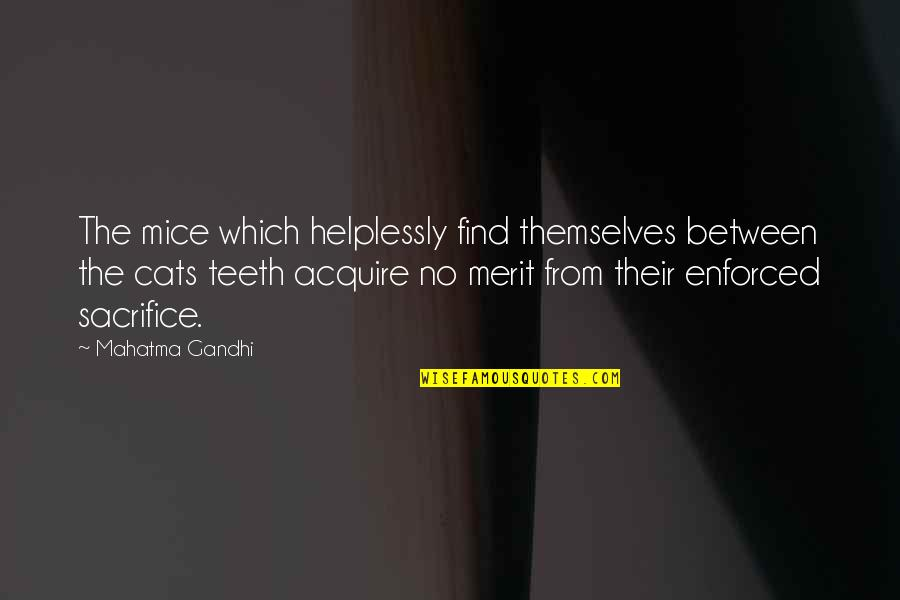 Helplessly Quotes By Mahatma Gandhi: The mice which helplessly find themselves between the