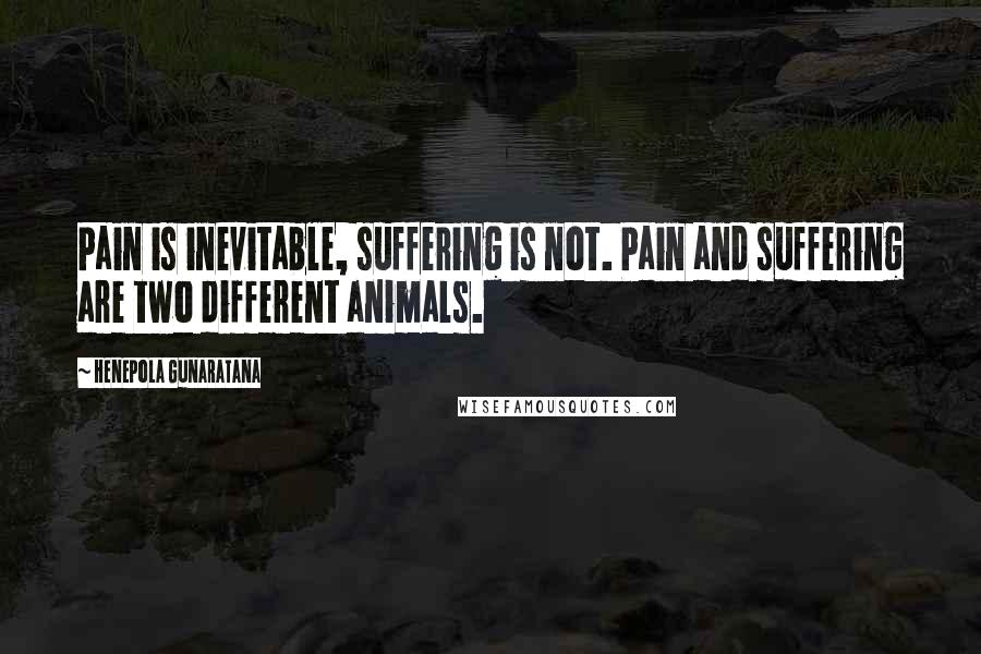 Henepola Gunaratana quotes: Pain is inevitable, suffering is not. Pain and suffering are two different animals.