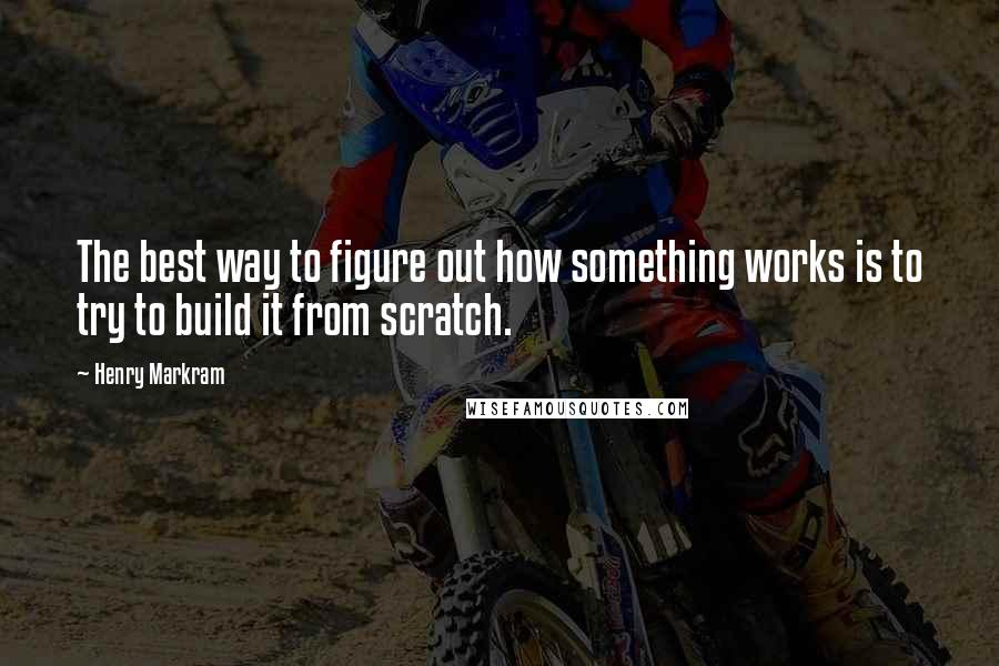 Henry Markram quotes: The best way to figure out how something works is to try to build it from scratch.