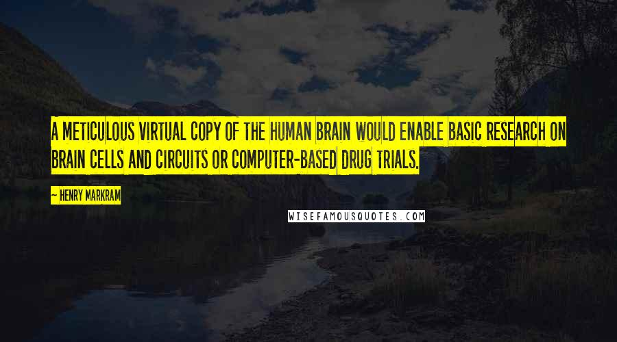 Henry Markram quotes: A meticulous virtual copy of the human brain would enable basic research on brain cells and circuits or computer-based drug trials.