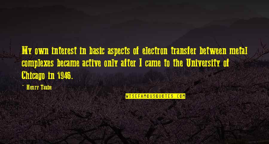 Henry Taube Quotes By Henry Taube: My own interest in basic aspects of electron