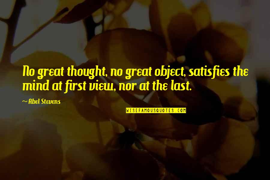 Henry Waxman Quotes By Abel Stevens: No great thought, no great object, satisfies the