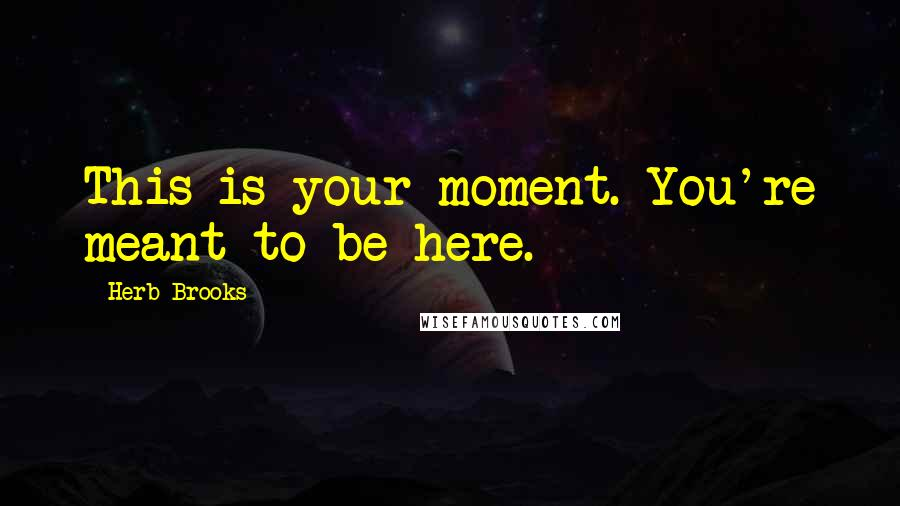 Herb Brooks quotes: This is your moment. You're meant to be here.