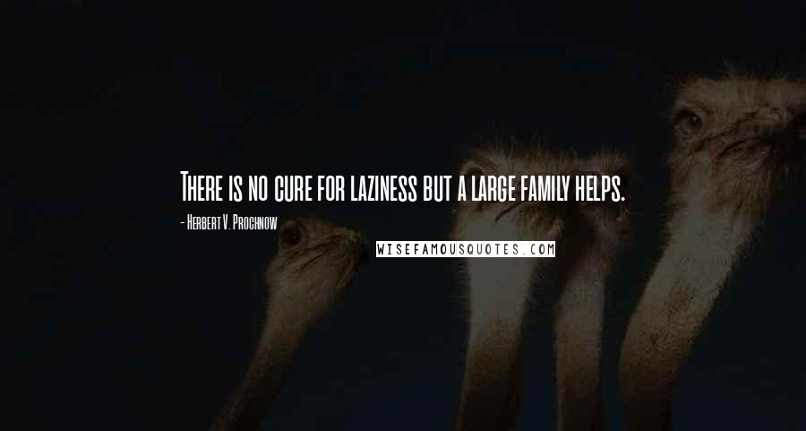 Herbert V. Prochnow quotes: There is no cure for laziness but a large family helps.