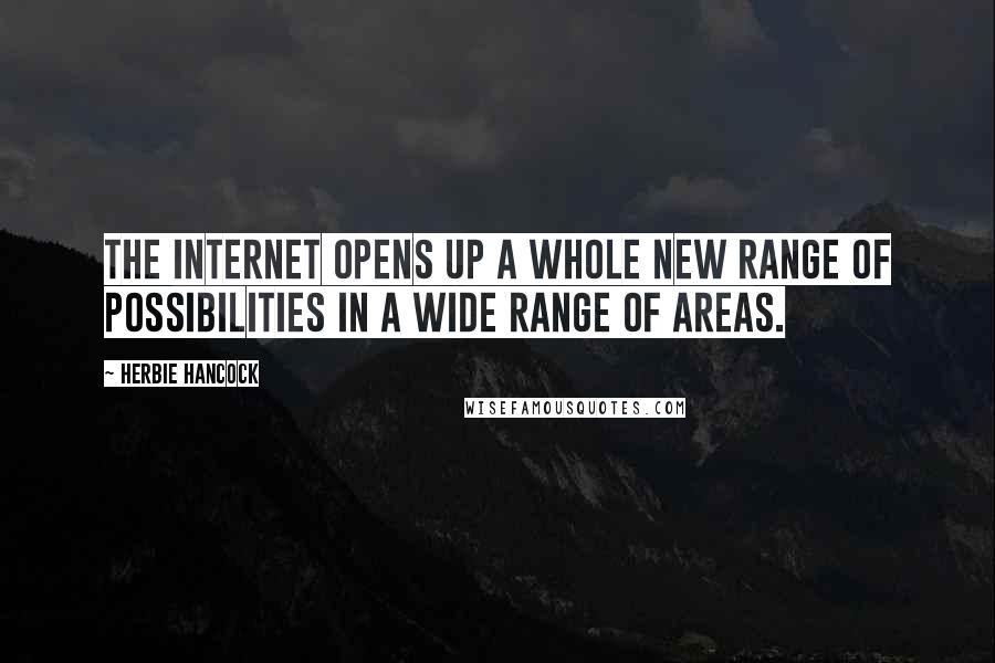Herbie Hancock quotes: The Internet opens up a whole new range of possibilities in a wide range of areas.