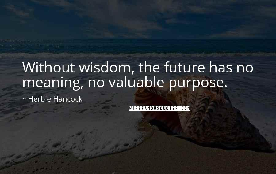 Herbie Hancock quotes: Without wisdom, the future has no meaning, no valuable purpose.