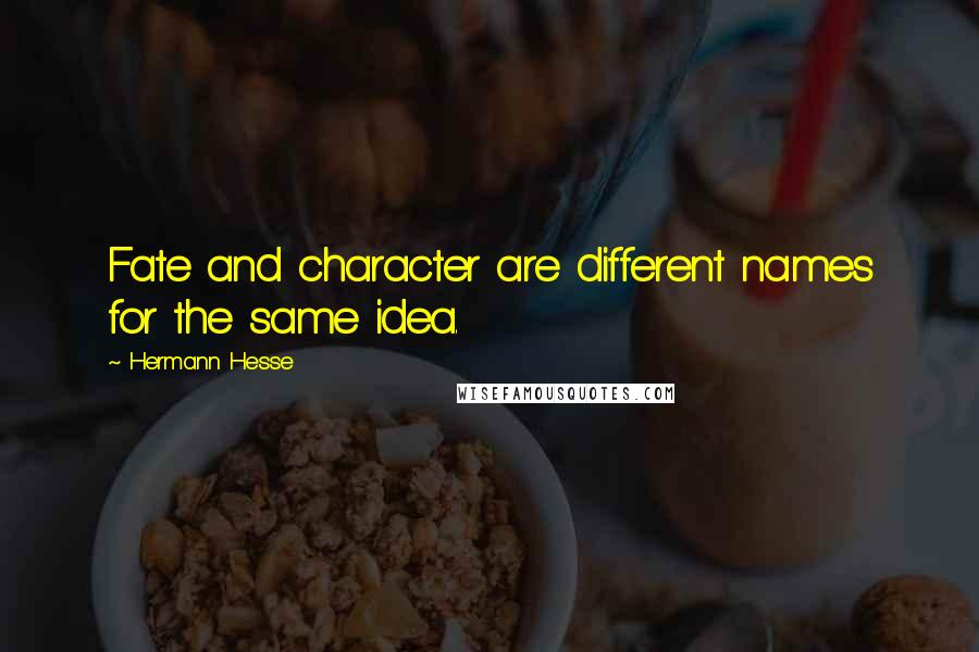 Hermann Hesse quotes: Fate and character are different names for the same idea.
