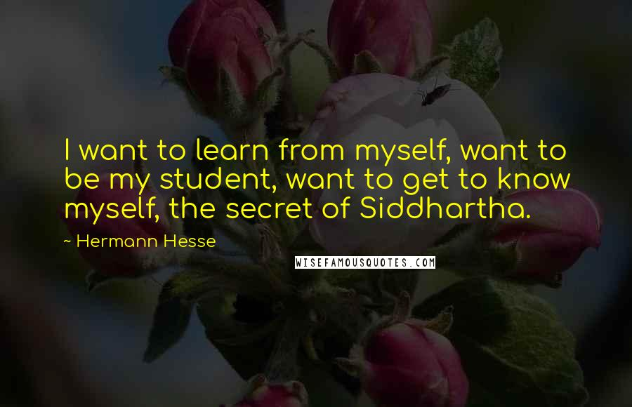 Hermann Hesse quotes: I want to learn from myself, want to be my student, want to get to know myself, the secret of Siddhartha.