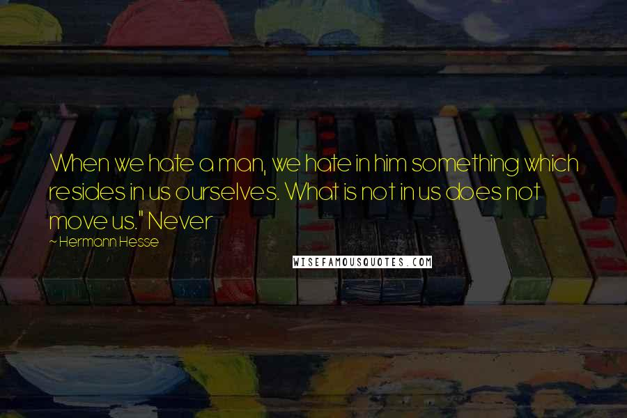"Hermann Hesse quotes: When we hate a man, we hate in him something which resides in us ourselves. What is not in us does not move us."" Never"