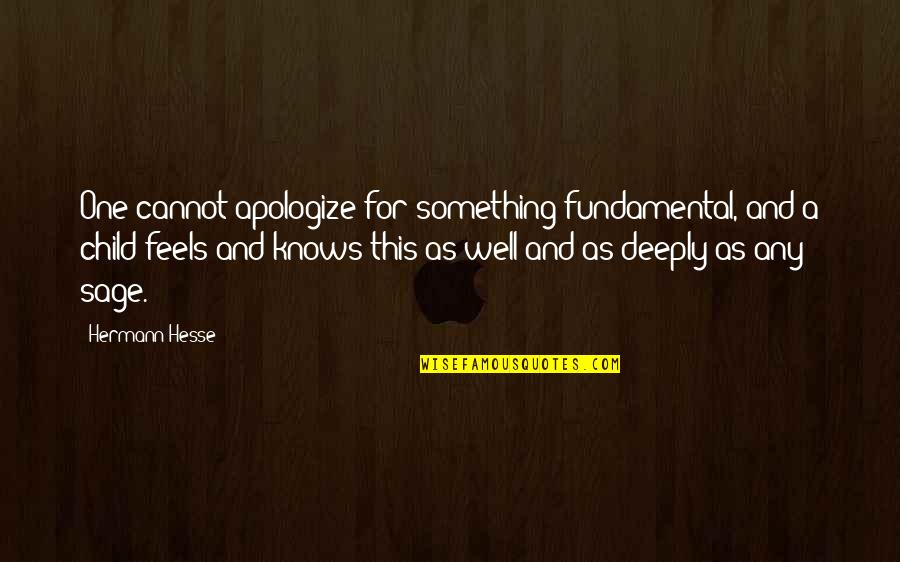 Hermann Hesse Quotes By Hermann Hesse: One cannot apologize for something fundamental, and a