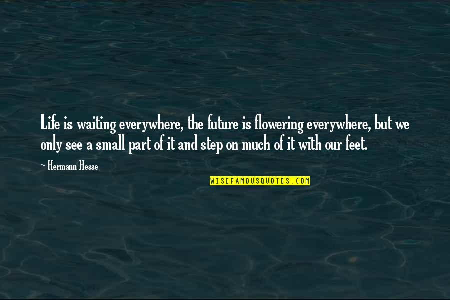 Hermann Hesse Quotes By Hermann Hesse: Life is waiting everywhere, the future is flowering