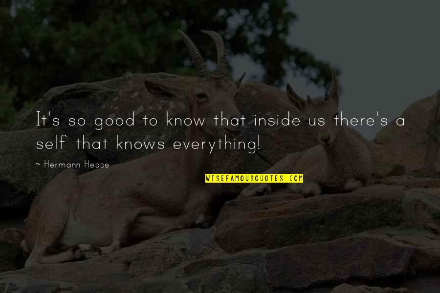 Hermann Hesse Quotes By Hermann Hesse: It's so good to know that inside us