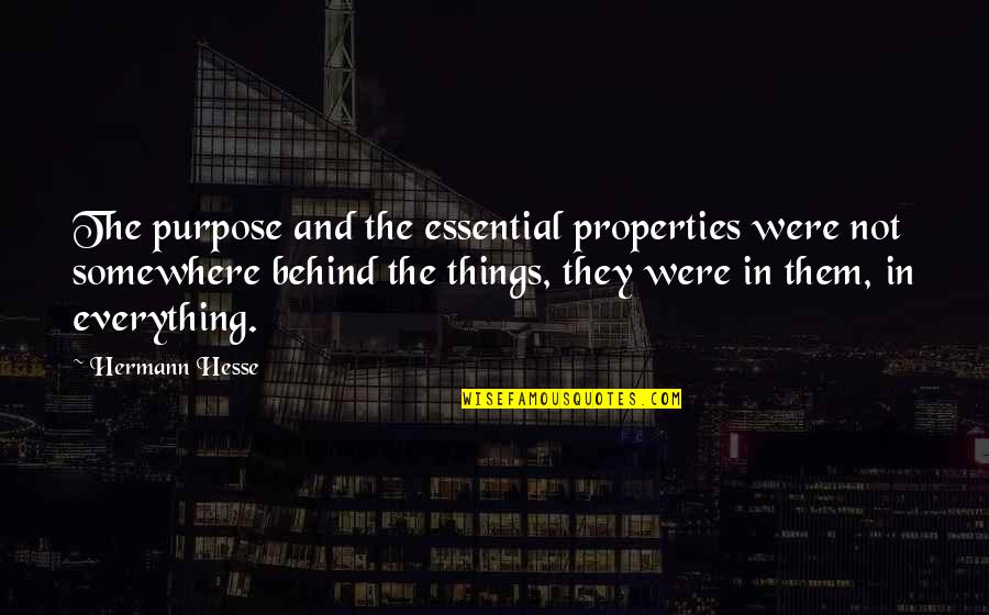 Hermann Hesse Quotes By Hermann Hesse: The purpose and the essential properties were not