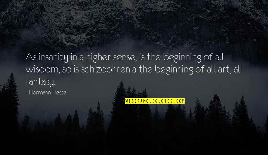Hermann Hesse Quotes By Hermann Hesse: As insanity in a higher sense, is the