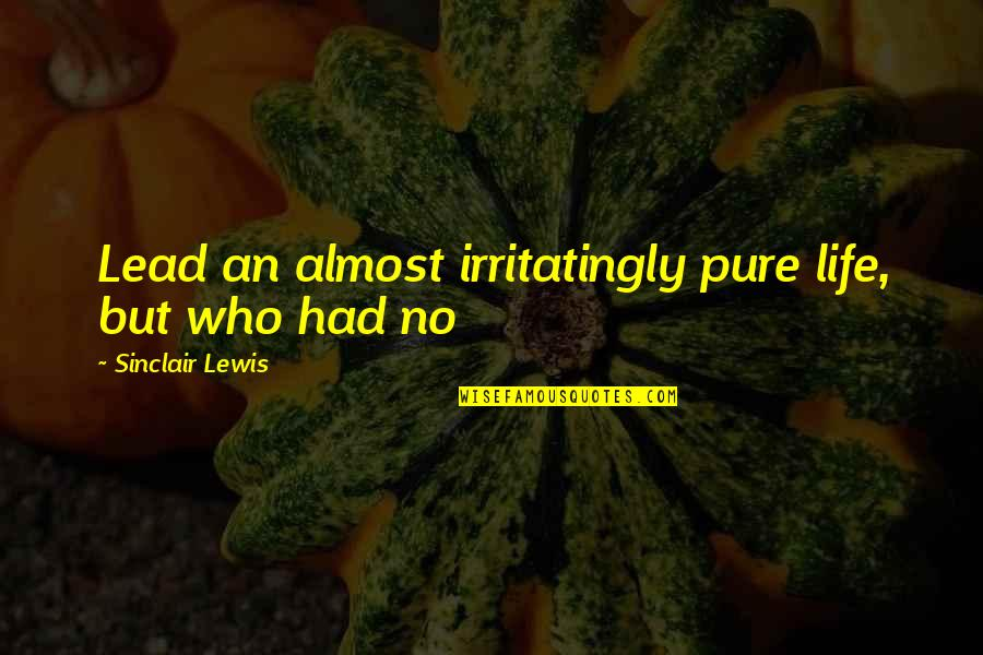 Hermetica Quotes By Sinclair Lewis: Lead an almost irritatingly pure life, but who