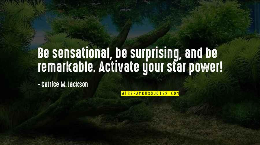 Hero Sidekick Quotes By Catrice M. Jackson: Be sensational, be surprising, and be remarkable. Activate