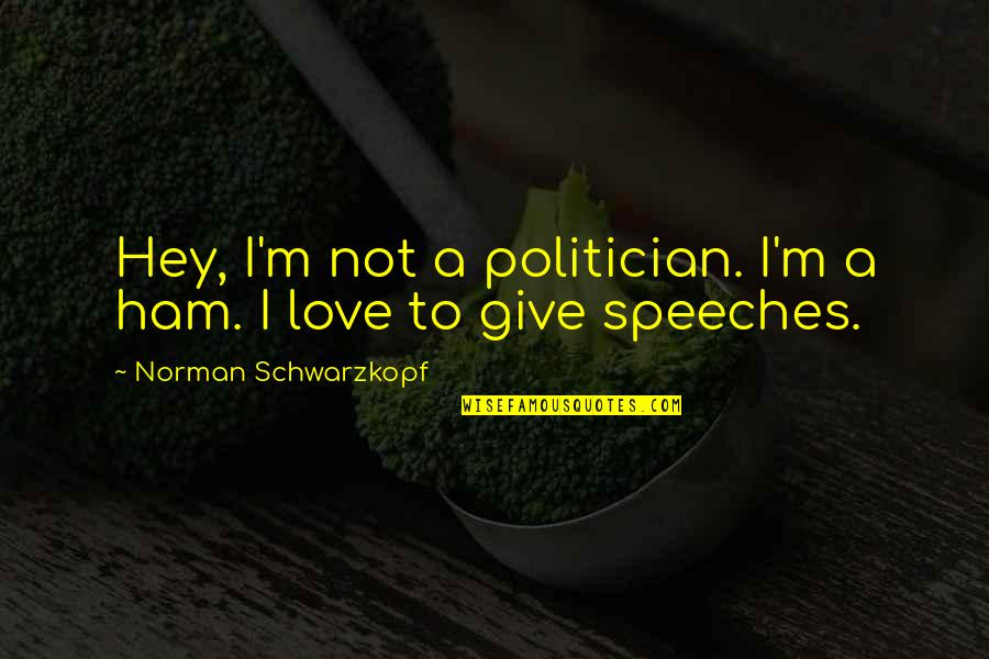 Hey My Love Quotes By Norman Schwarzkopf: Hey, I'm not a politician. I'm a ham.