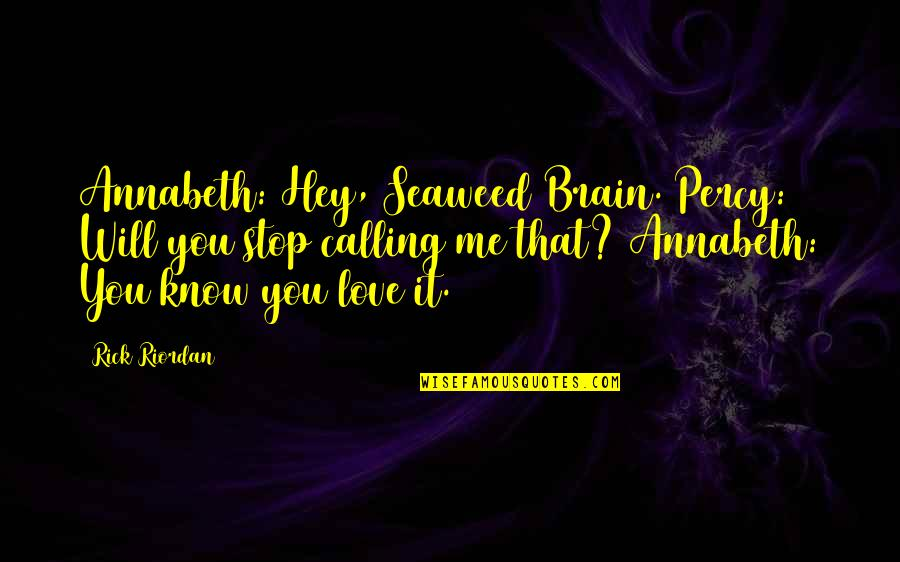 Hey My Love Quotes By Rick Riordan: Annabeth: Hey, Seaweed Brain. Percy: Will you stop