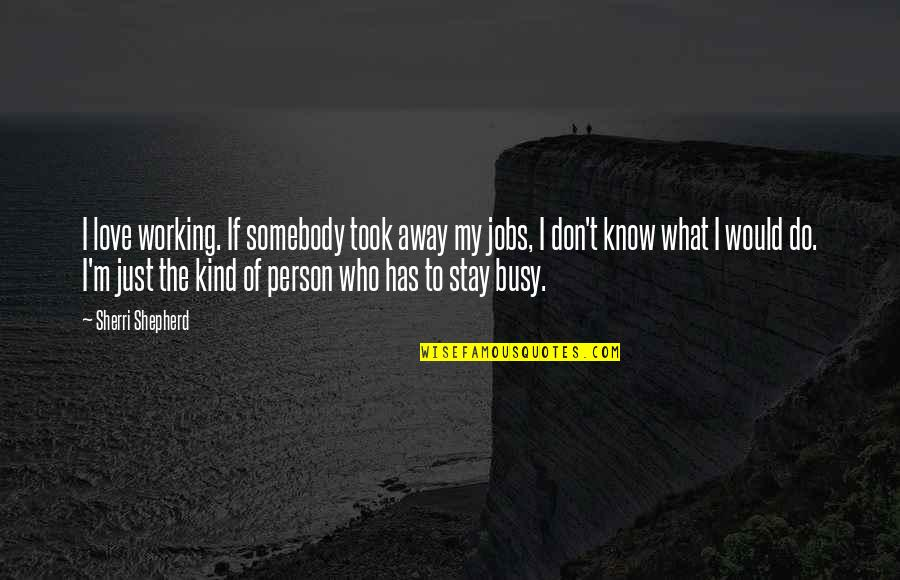 Hey Paula Quotes By Sherri Shepherd: I love working. If somebody took away my