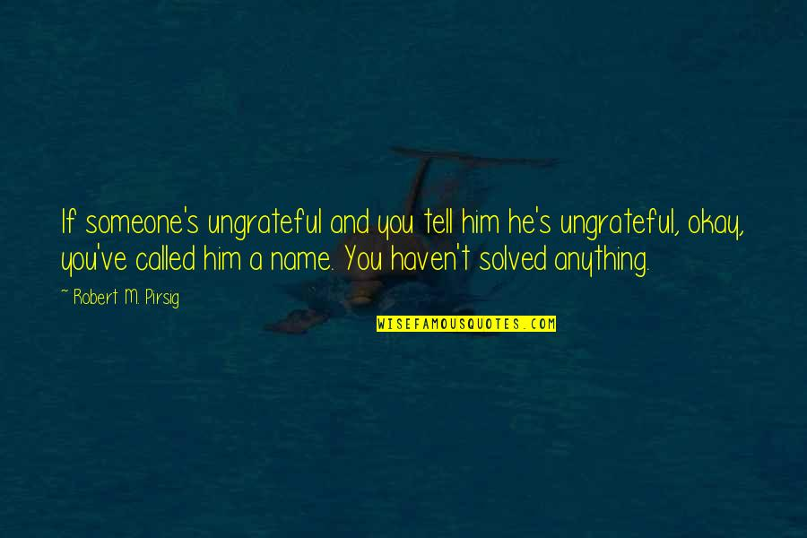 Hi My Name Is Quotes By Robert M. Pirsig: If someone's ungrateful and you tell him he's