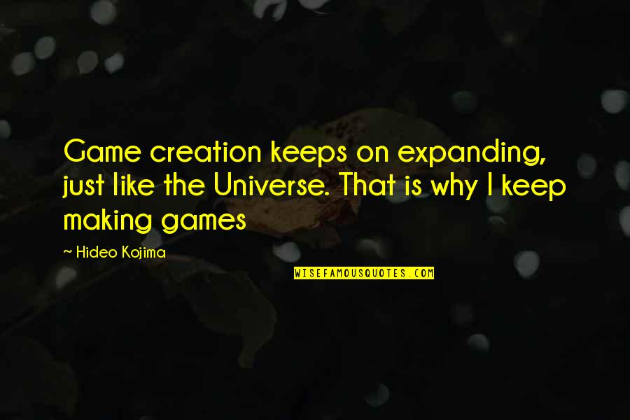 Hideo Kojima Quotes By Hideo Kojima: Game creation keeps on expanding, just like the