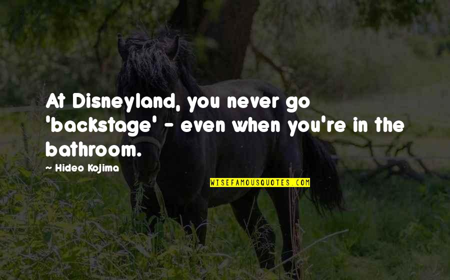Hideo Kojima Quotes By Hideo Kojima: At Disneyland, you never go 'backstage' - even
