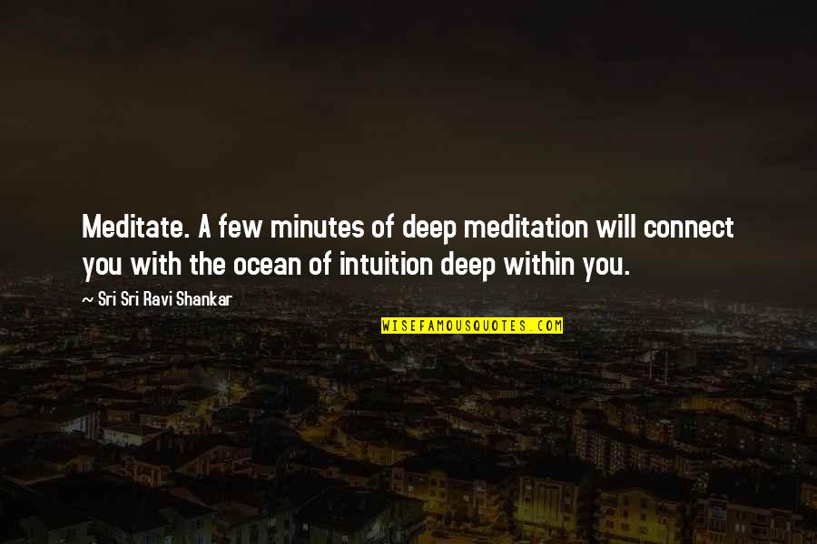 High Cotton Quotes By Sri Sri Ravi Shankar: Meditate. A few minutes of deep meditation will