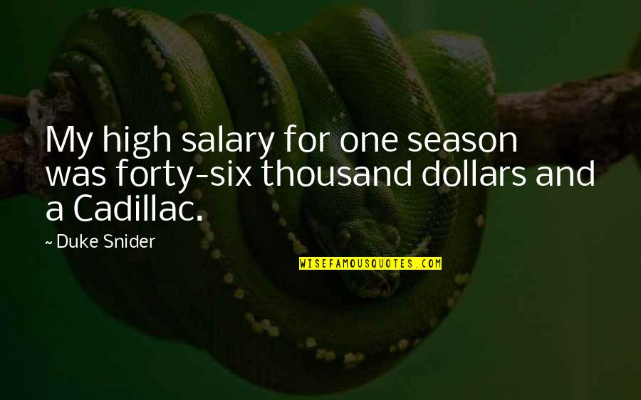 High Salary Quotes By Duke Snider: My high salary for one season was forty-six
